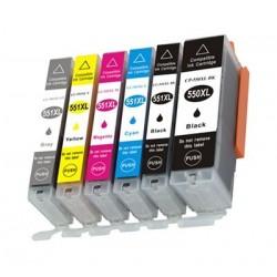 CANON CLI551XL 6 pack multipack bläck kompatibla