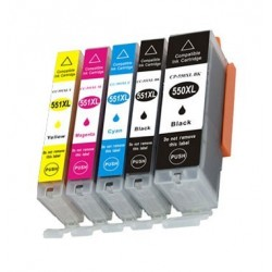 5-pack bläck i multipack kompatibla till Canon CLI551XL